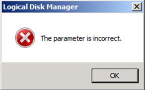 DiskGrowParameterIncorrect